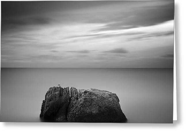 Black & White Rocky Seascape Scene With Greeting Card by Yury Bird