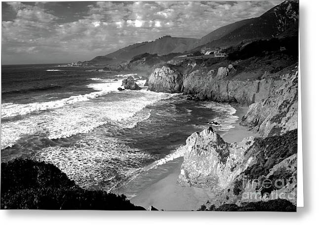 Black And White Big Sur Greeting Card