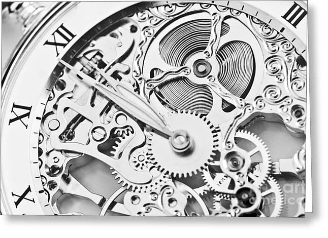 Black And White Close View Of Watch Greeting Card
