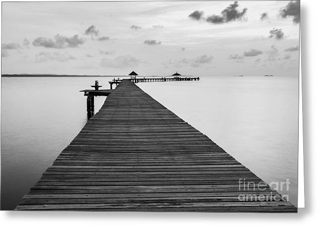 Black And White Of Bridge On Beach In Greeting Card