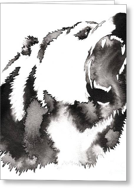 Black And White Painting With Water And Greeting Card