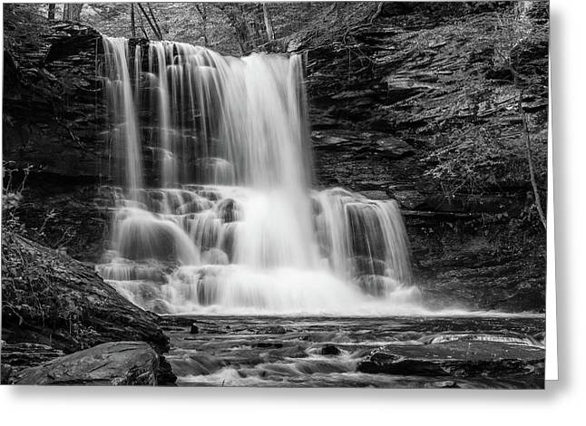 Greeting Card featuring the photograph Black And White Photo Of Sheldon Reynolds Waterfalls by Louis Dallara