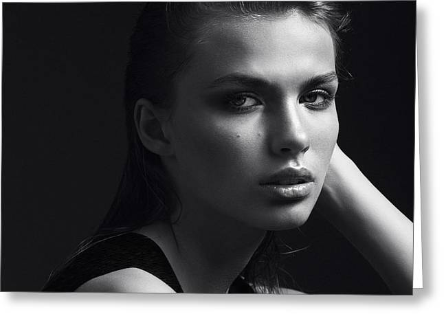Black And White Portrait Of A Beautiful Greeting Card