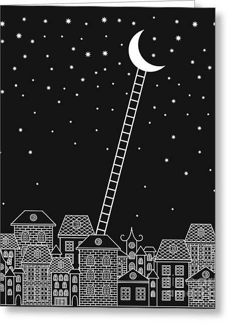 Black And White To The Moon And Back Greeting Card