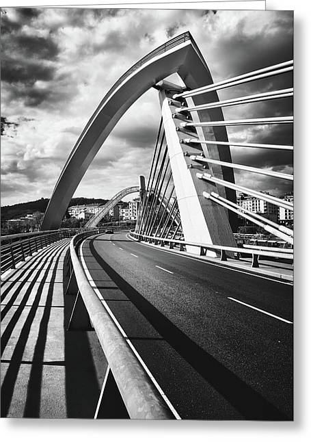 Black And White Version Of The Millennium Bridge Greeting Card