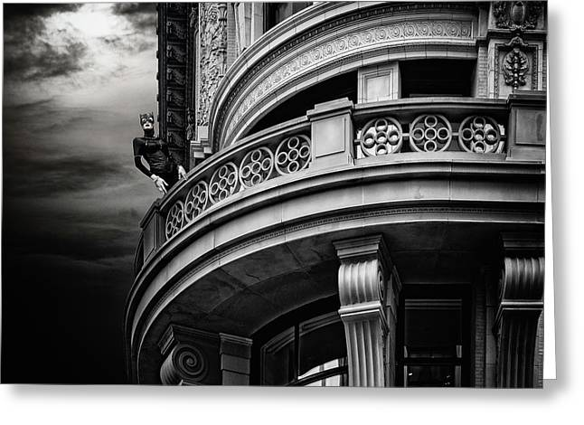 Greeting Card featuring the photograph Black Cat On A Fifth Avenue Balcony by Chris Lord