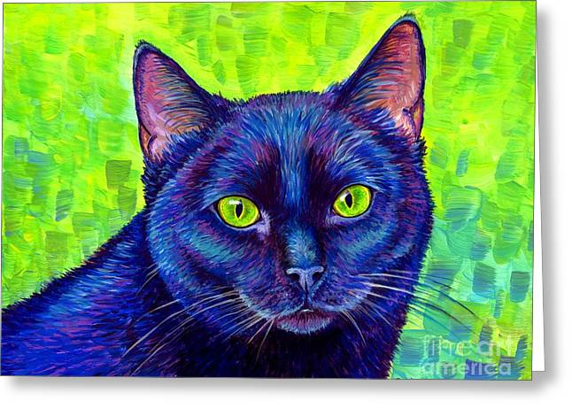 Black Cat With Chartreuse Eyes Greeting Card