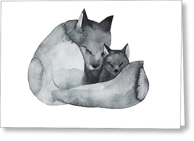 Black Fox And The Baby-watercolor Greeting Card