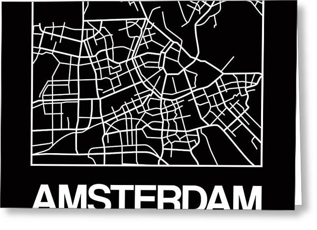 Black Map Of Amsterdam Greeting Card