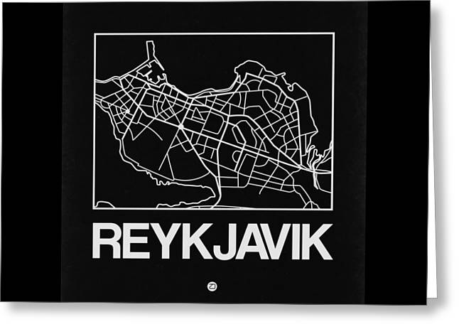 Black Map Of Reykjavik Greeting Card