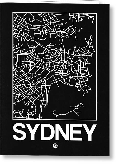Black Map Of Sydney Greeting Card