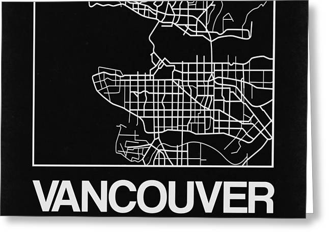 Black Map Of Vancouver Greeting Card