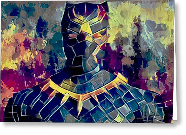 Greeting Card featuring the mixed media Black Panther by Al Matra
