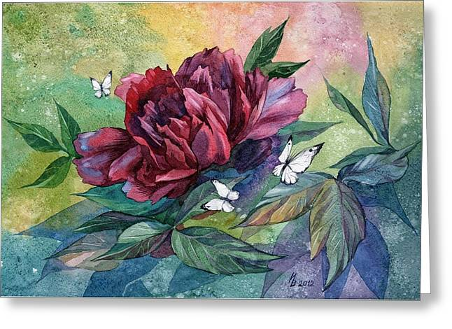 Black Peony Flower And Butterflies Greeting Card