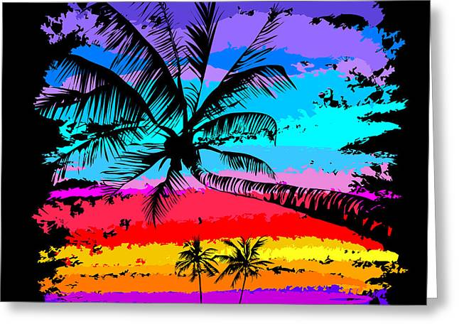 Black Silhouettes Of Palm Trees On A Greeting Card
