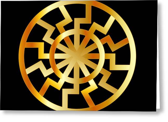 Black Sun Symbol In Gold- Schwarze Sonne- Occult Subculture Symbol Greeting Card