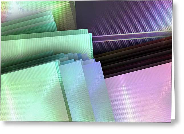 Blank Reflective Aluminum Plates. Blue, Pink And Purple. Fashion Abstract Background. Greeting Card