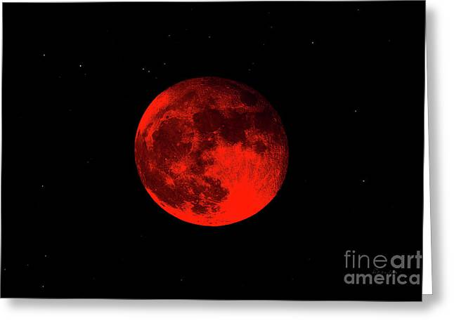 Blood Red Wolf Supermoon Eclipse 873a Greeting Card