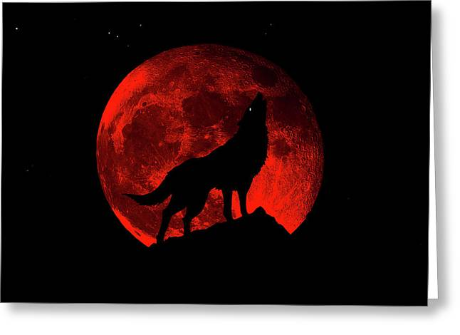 Blood Red Wolf Supermoon Eclipse 873l Greeting Card