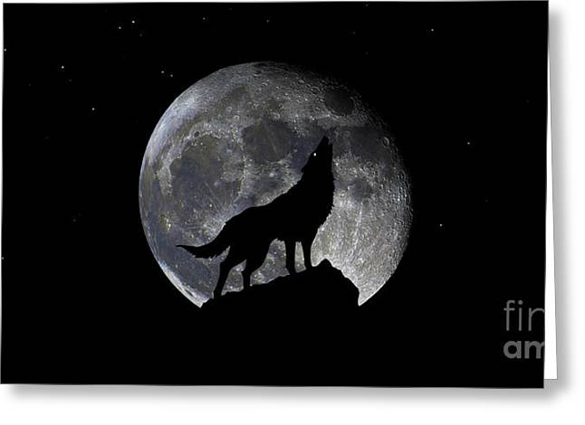 Pre Blood Red Wolf Supermoon Eclipse 873r Greeting Card