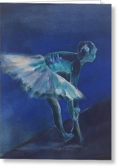 Blue Ballerina Greeting Card