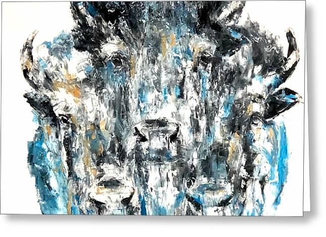 Blue Bison Greeting Card