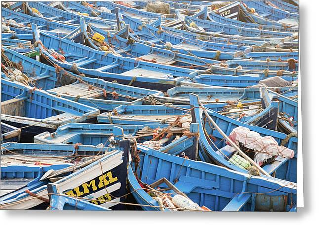 Blue Boats In Morocco Greeting Card