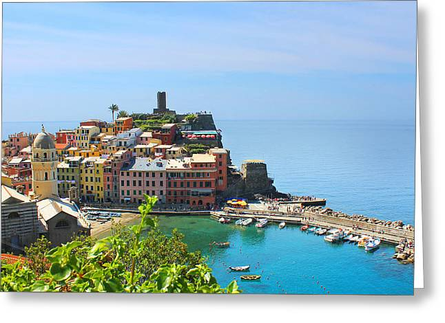 Blue Cinque Terre Greeting Card by Christine Buckley