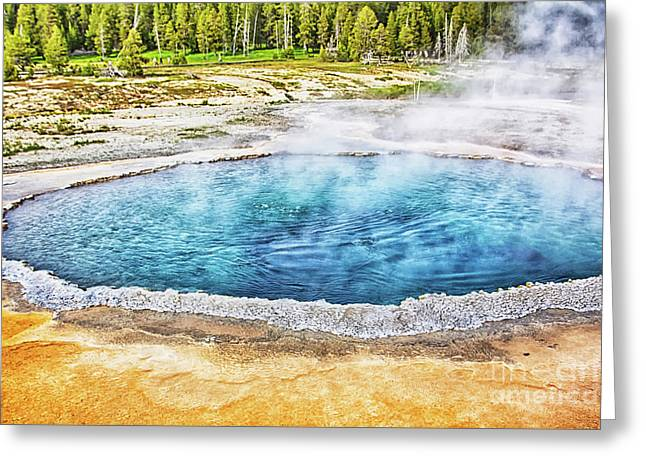 Greeting Card featuring the photograph Blue Crested Pool At Yellowstone National Park by Tatiana Travelways