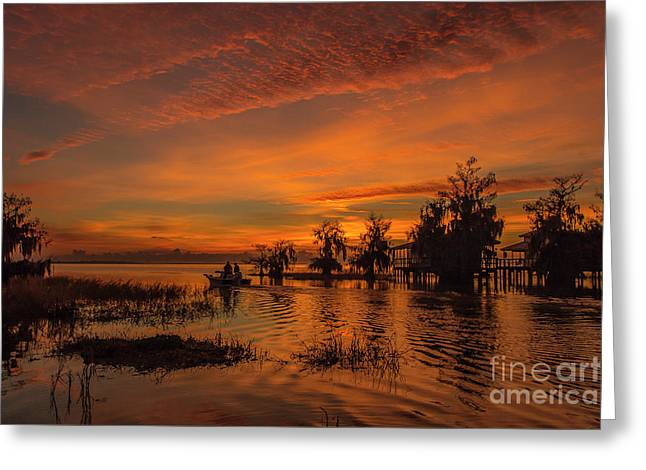 Blue Cypress Sunrise With Boat Greeting Card