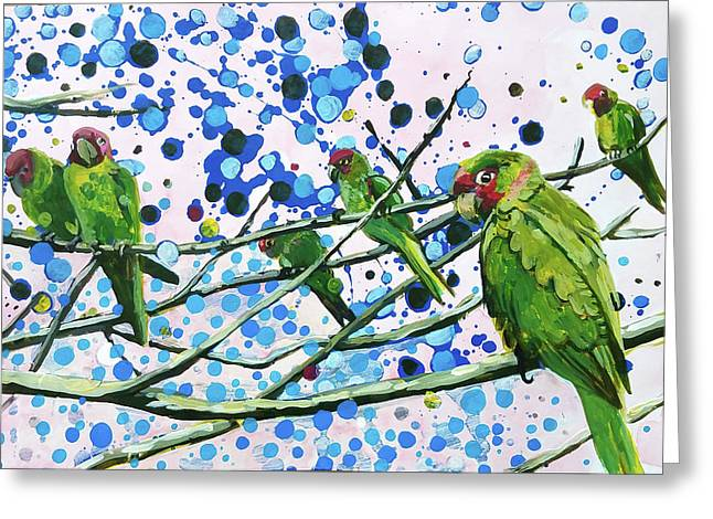 Blue Dot Parakeets Greeting Card