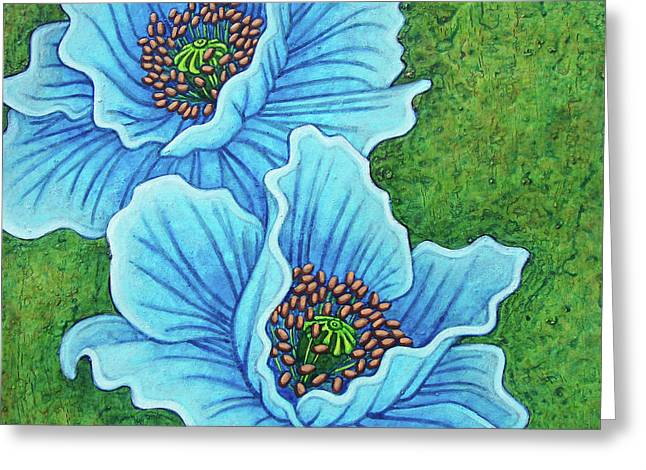 Greeting Card featuring the painting Blue Duo by Amy E Fraser
