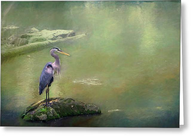 Blue Heron Isolated Greeting Card