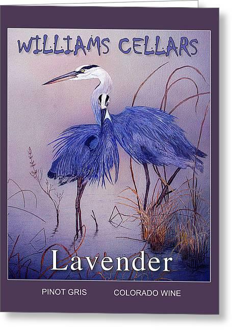 Blue Heron Lavender Wine Label Greeting Card