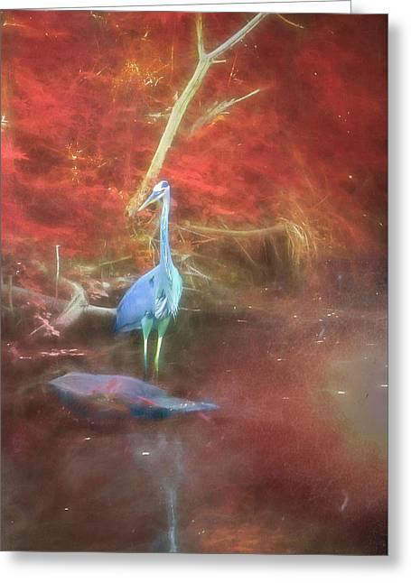 Blue Heron Red Background Greeting Card