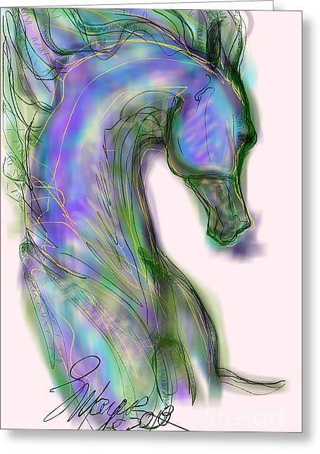 Blue Horse Painting Greeting Card