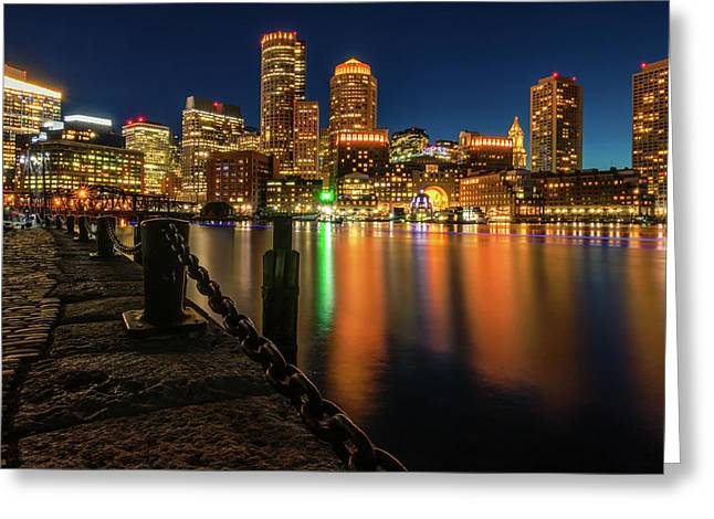 Blue Hour At Boston's Fan Pier Greeting Card