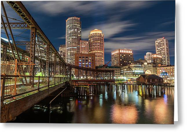Blue Hour In Boston Harbor Greeting Card