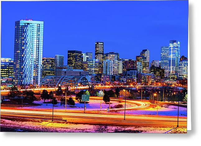 Blue Hour Over Denver Greeting Card