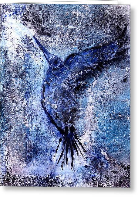 Greeting Card featuring the painting Blue Hummingbird by 'REA' Gallery