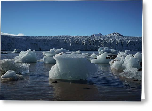 Blue Icebergs Floating Along Storm Arctic Coast Panorama Greeting Card