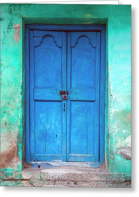 Blue Indian Door Greeting Card