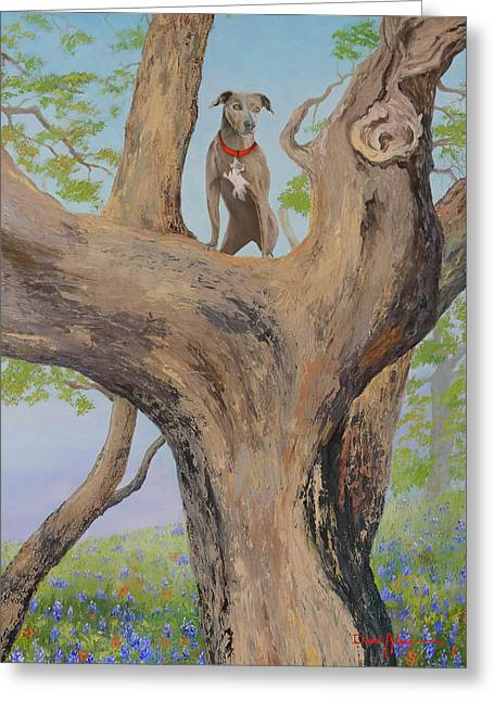 Blue Lacey In A Tree Greeting Card
