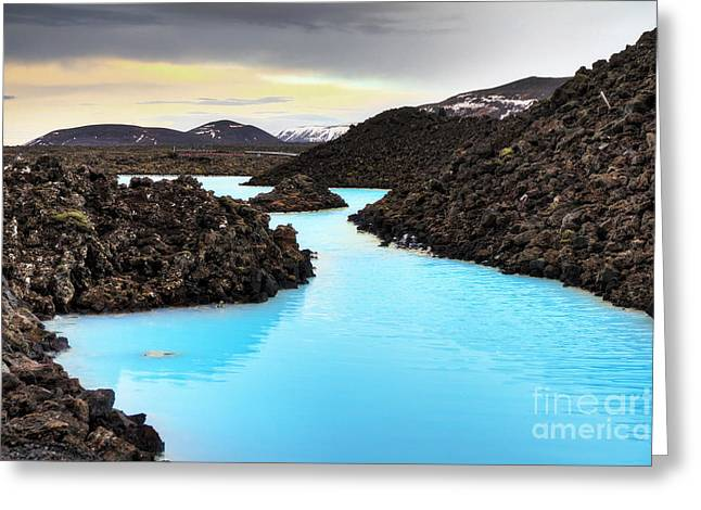 Blue Lagoon Waters In The Lava Field Greeting Card