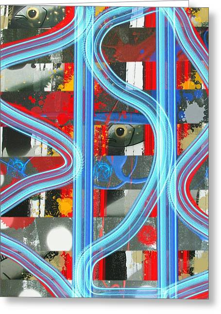 Blue Meet Red Black And White Fish Greeting Card
