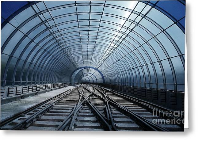 Blue Metro Tube Tunnel Greeting Card
