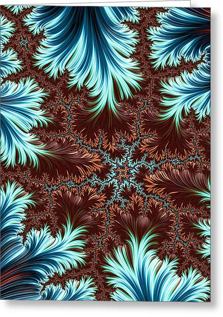 Greeting Card featuring the digital art Blue Palm Oasis Abstract Fractal Landscape by Shelli Fitzpatrick