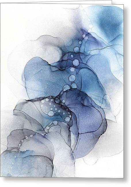 Blue Petal Dots Whispy Abstract Painting Greeting Card