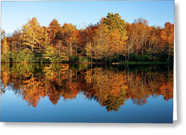 Blue Ridge Parkway Autumn Mirror Image Greeting Card by Dan Carmichael