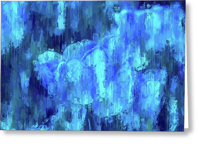 Blue Tulips On A Rainy Day Greeting Card